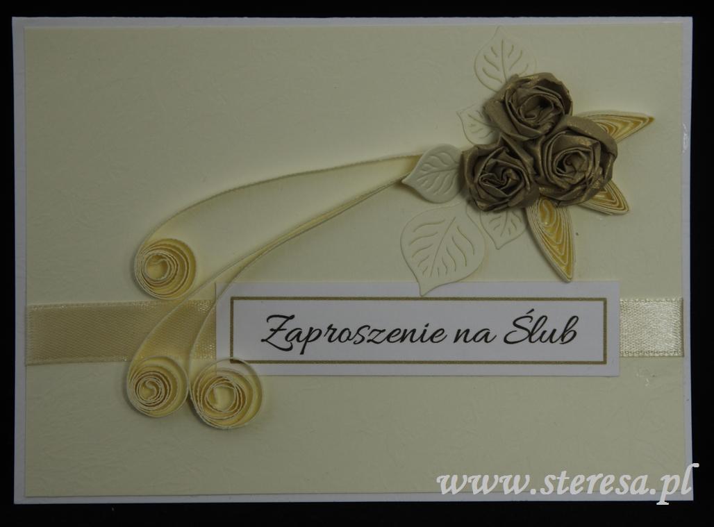Topnotch Ślubne zaproszenie ręcznie robione z quillingowymi różami. - Sklep RG01