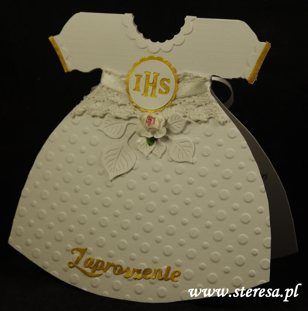 cf7fa54c2a Zaproszenie ręcznie robione na Pierwszą Komunię - sukienka. - Sklep ...